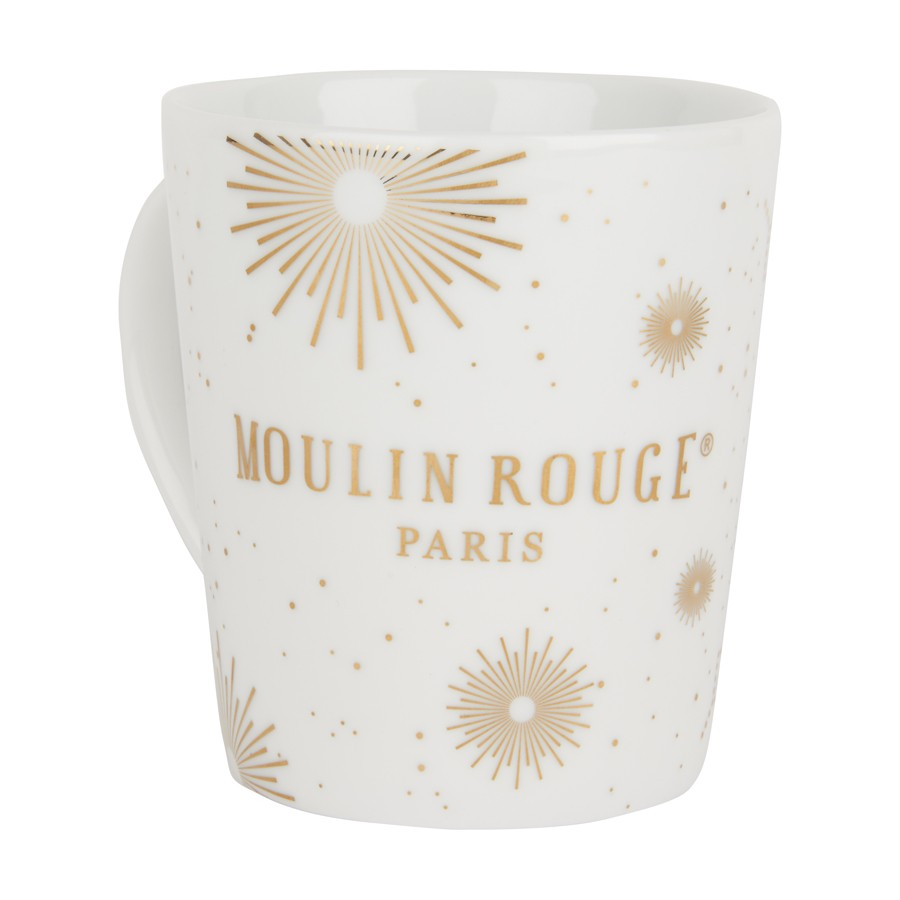 """Feux de joie"" porcelain and gold white mug"