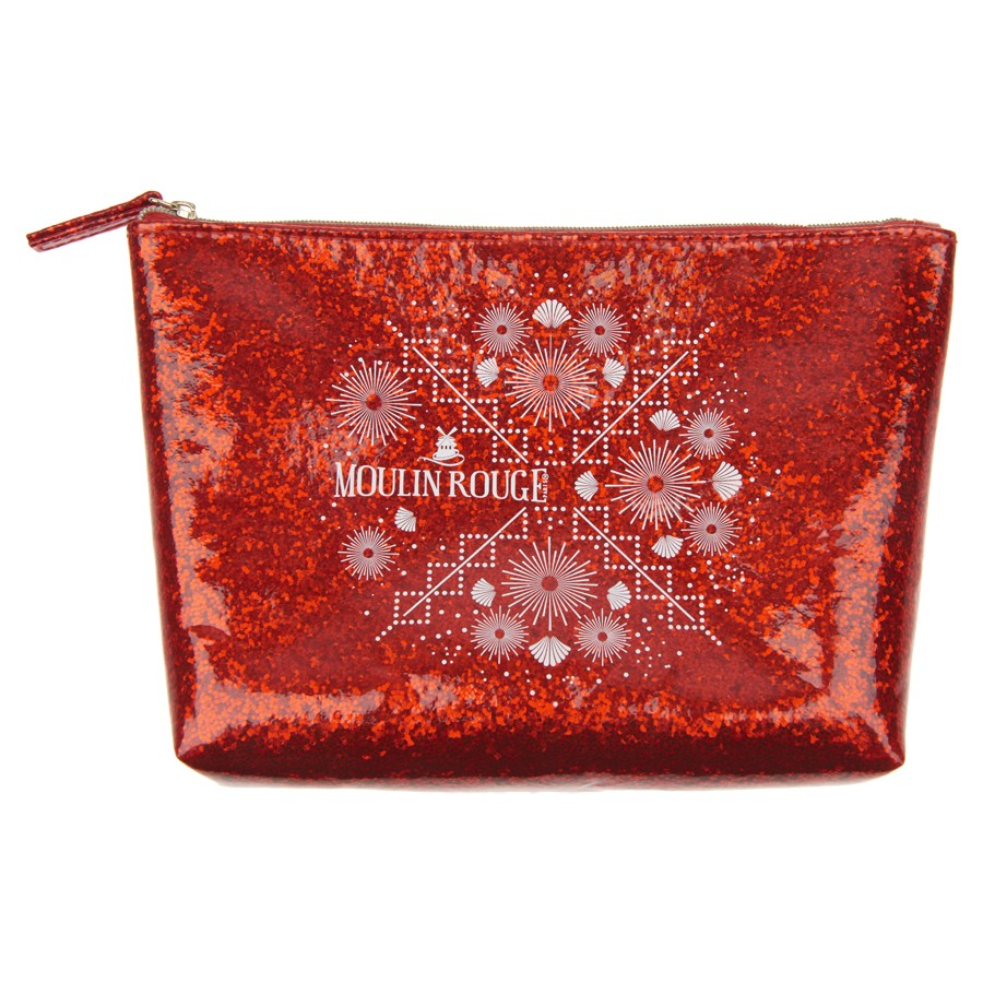 Red glitter pouch